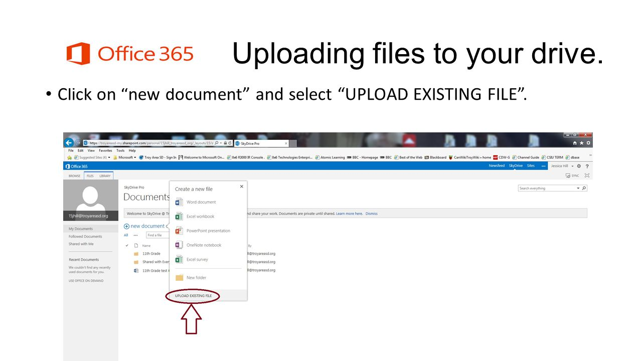 Uploading files to your drive. Click on new document and select UPLOAD EXISTING FILE.