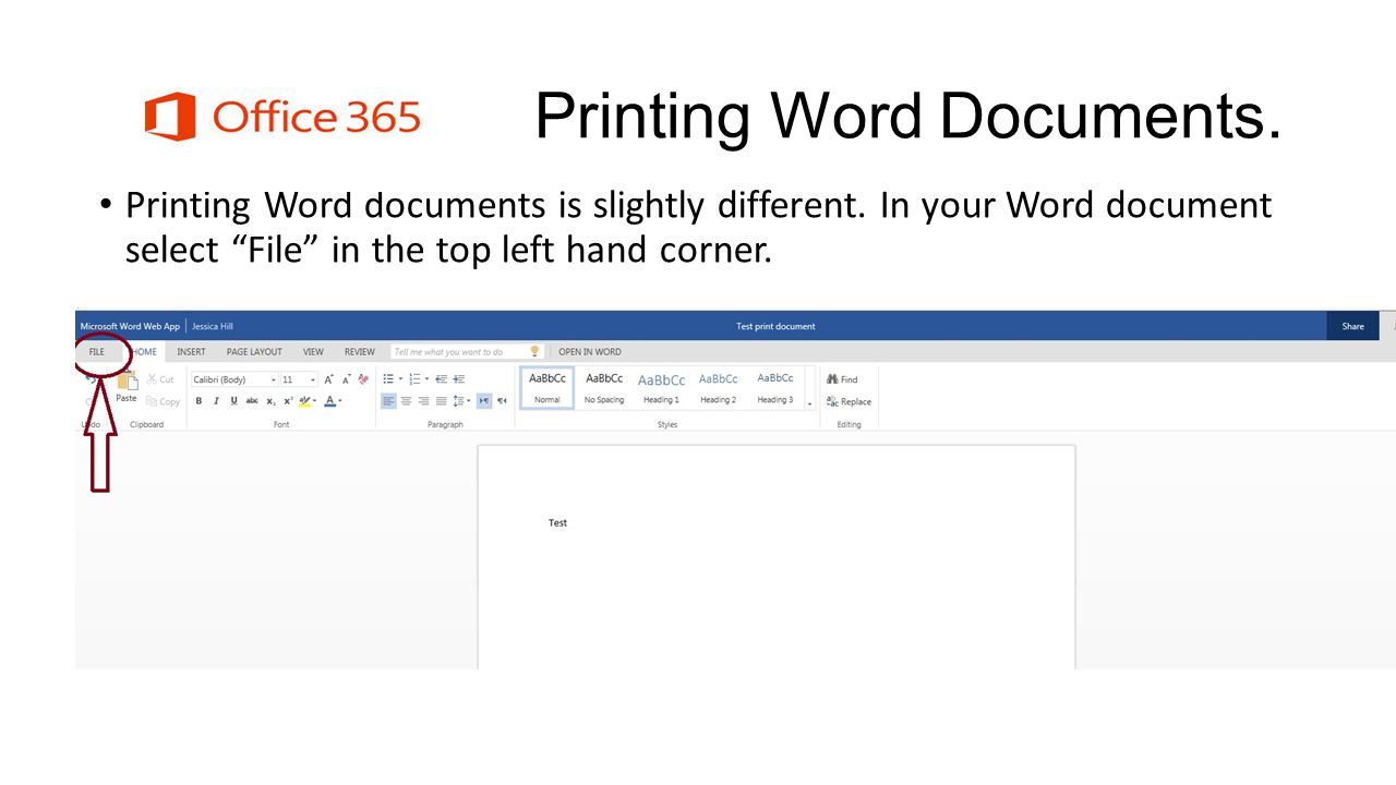 Printing Word Documents. Printing Word documents is slightly different.