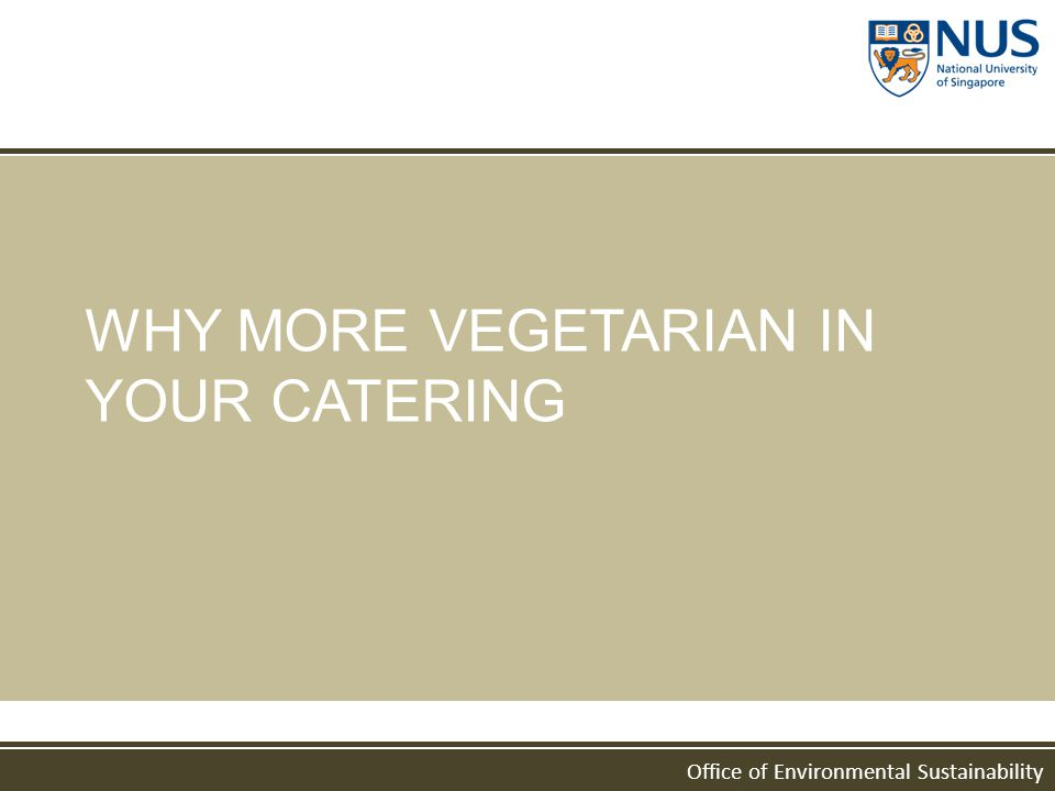 Office of Environmental Sustainability WHY MORE VEGETARIAN IN YOUR CATERING