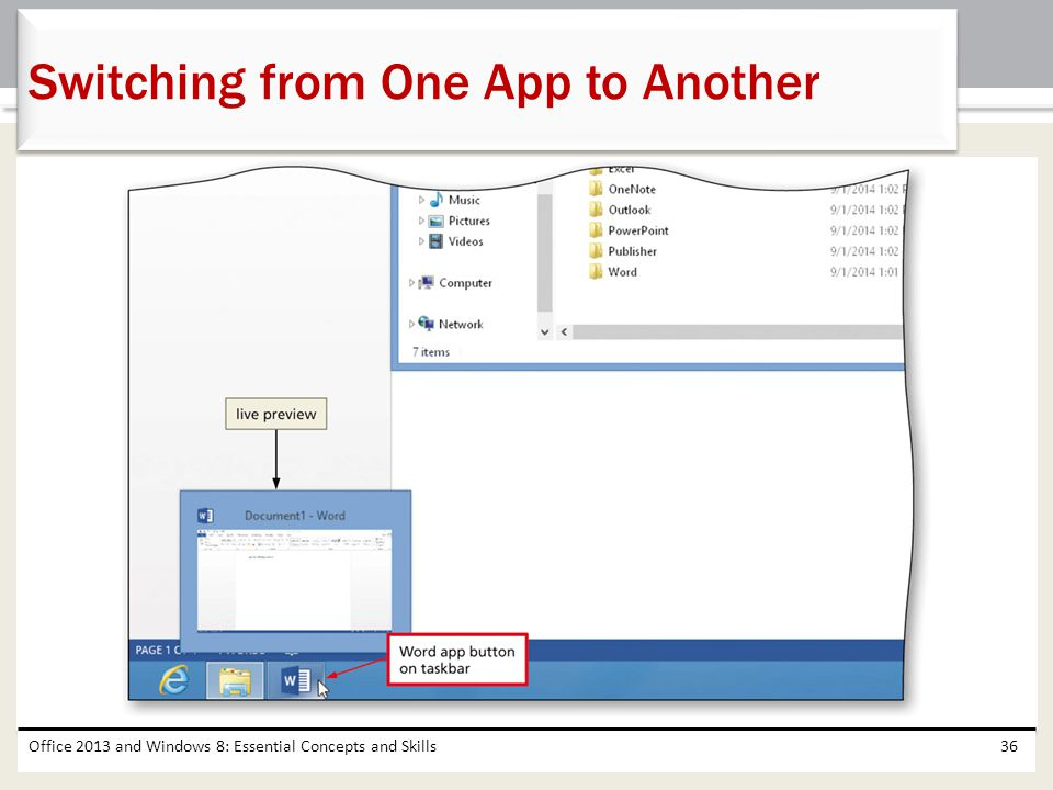 Office 2013 and Windows 8: Essential Concepts and Skills36 Switching from One App to Another