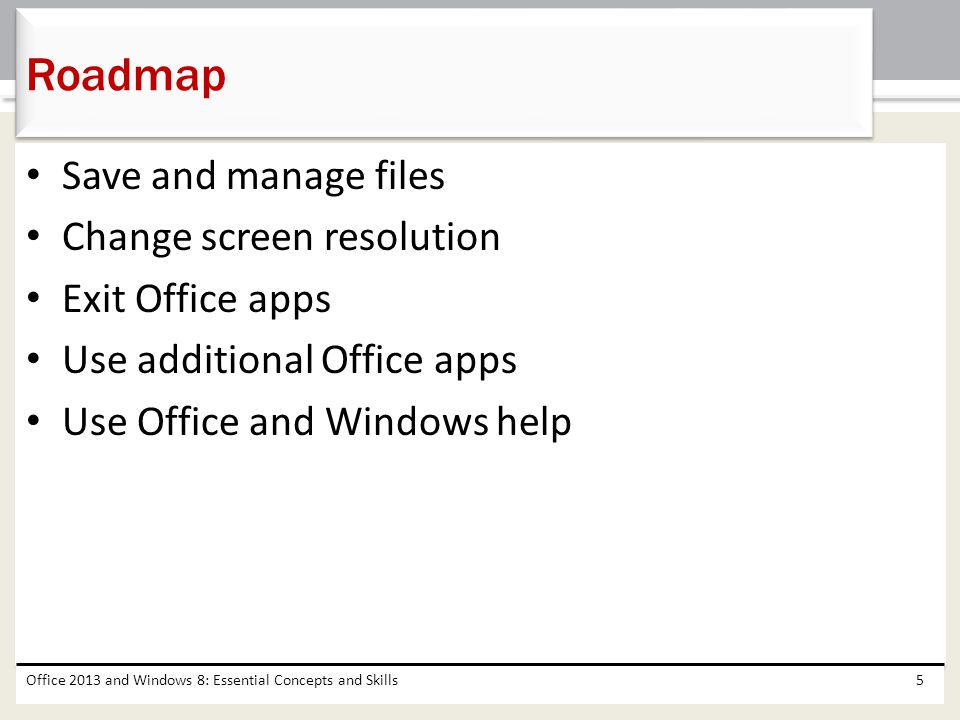 Office 2013 and Windows 8: Essential Concepts and Skills86 Deleting a File