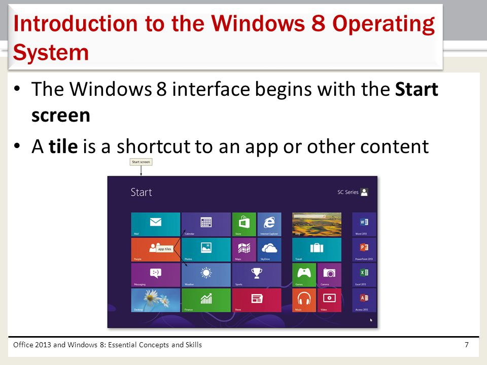 The Windows 8 interface begins with the Start screen A tile is a shortcut to an app or other content Office 2013 and Windows 8: Essential Concepts and