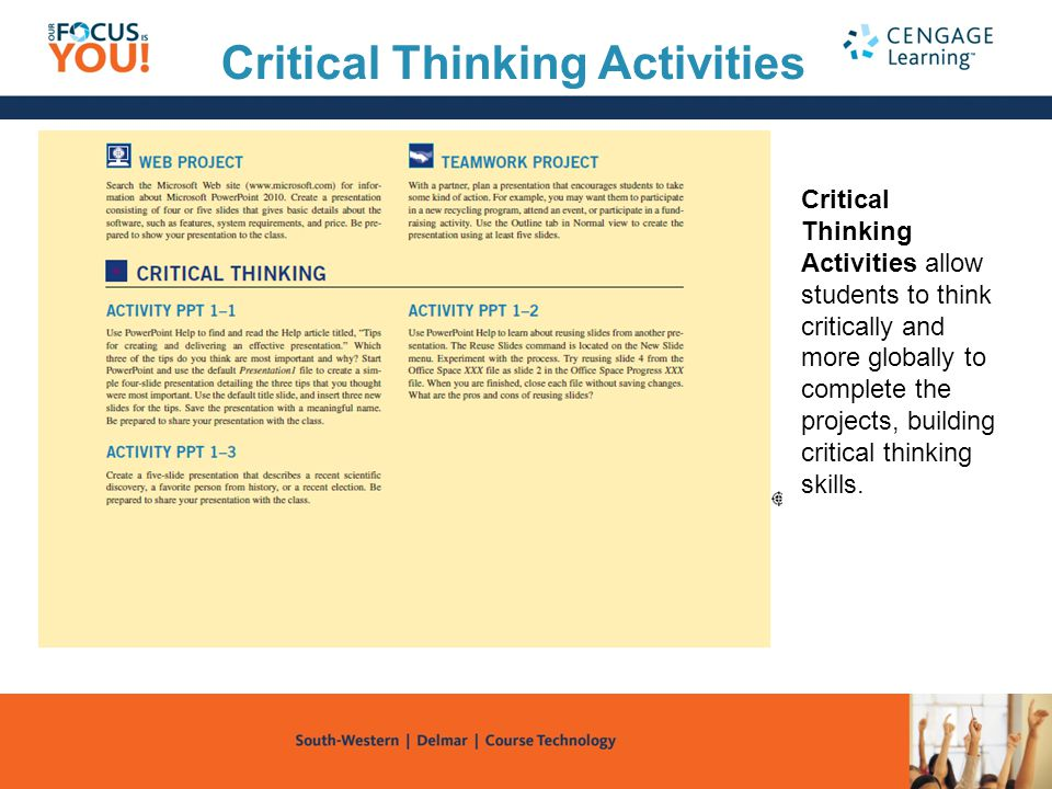 Critical Thinking Activities Critical Thinking Activities allow students to think critically and more globally to complete the projects, building crit