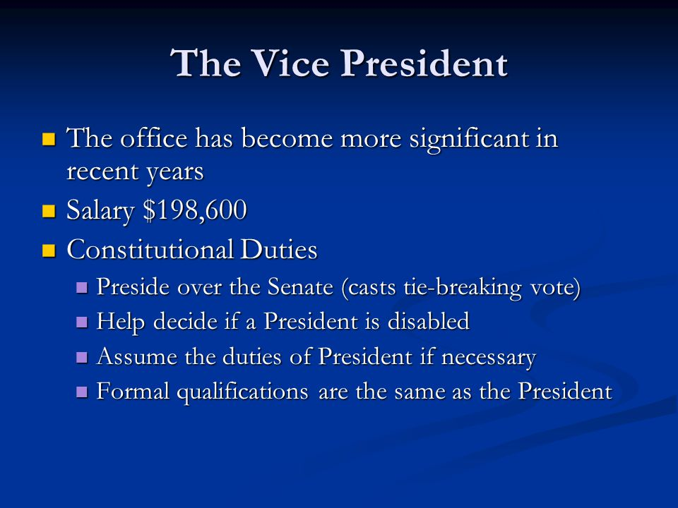 The Vice President The office has become more significant in recent years The office has become more significant in recent years Salary $198,600 Salar