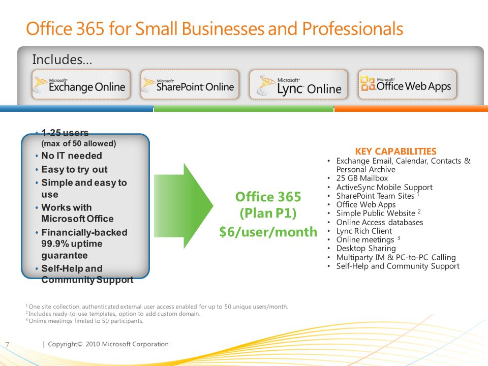 | Copyright© 2010 Microsoft Corporation When Is Microsoft Office 365 for Small Businesses Not Enough.