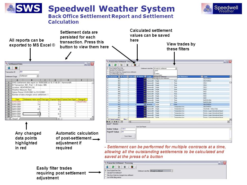 Speedwell Weather System Back Office – Payment Lists There are two main lists that detail all the payments that are processed through the Back Office.