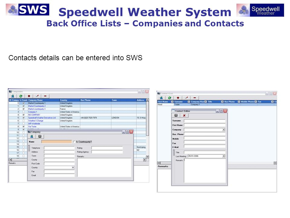 Speedwell Weather System Back Office Lists – Companies and Contacts Contacts details can be entered into SWS