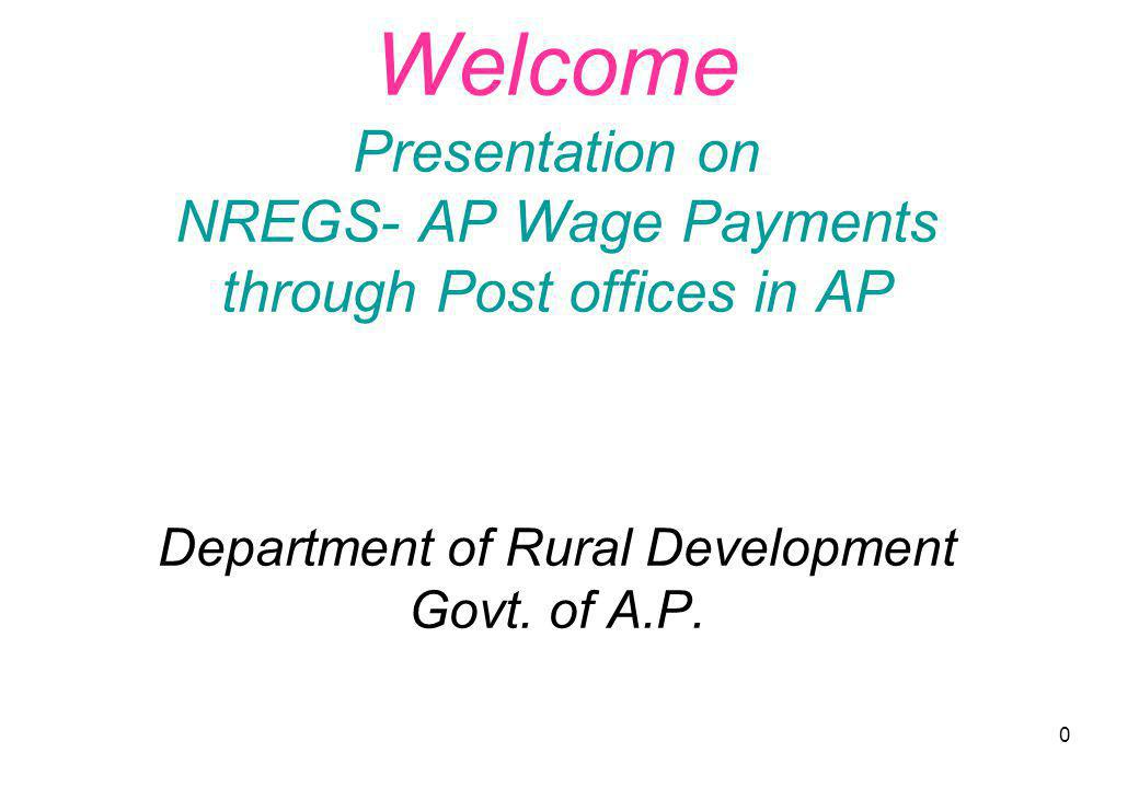 0 Welcome Presentation on NREGS- AP Wage Payments through Post offices in AP Department of Rural Development Govt. of A.P.