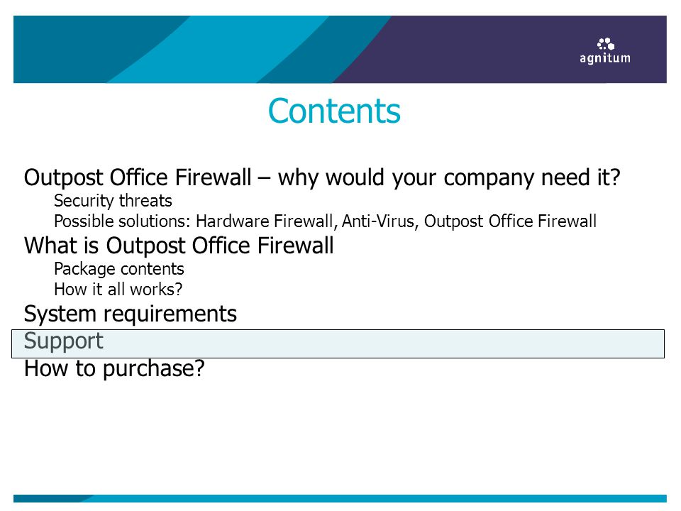 Contents Outpost Office Firewall – why would your company need it.