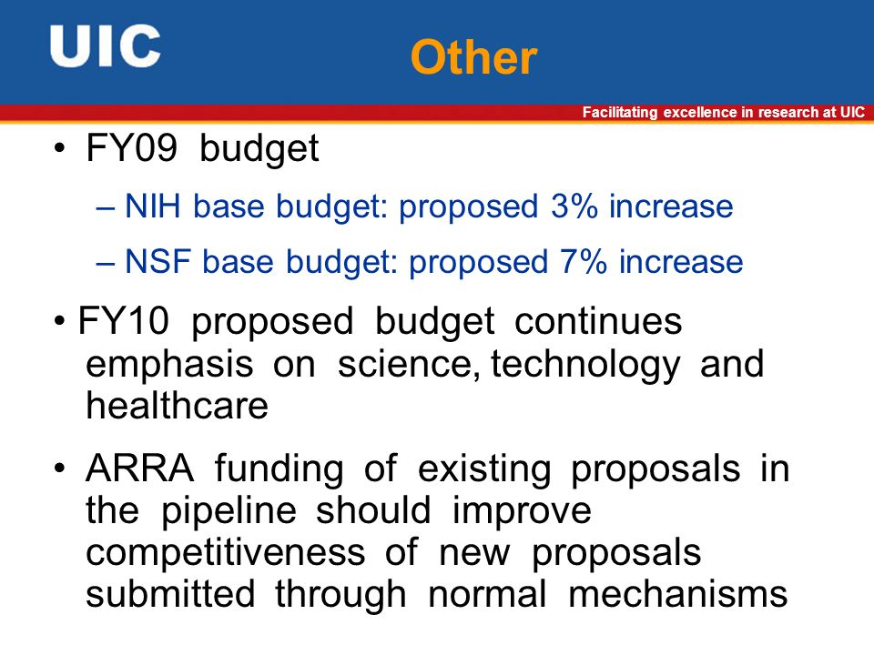Facilitating excellence in research at UIC Other FY09 budget – NIH base budget: proposed 3% increase – NSF base budget: proposed 7% increase FY10 proposed budget continues emphasis on science, technology and healthcare ARRA funding of existing proposals in the pipeline should improve competitiveness of new proposals submitted through normal mechanisms