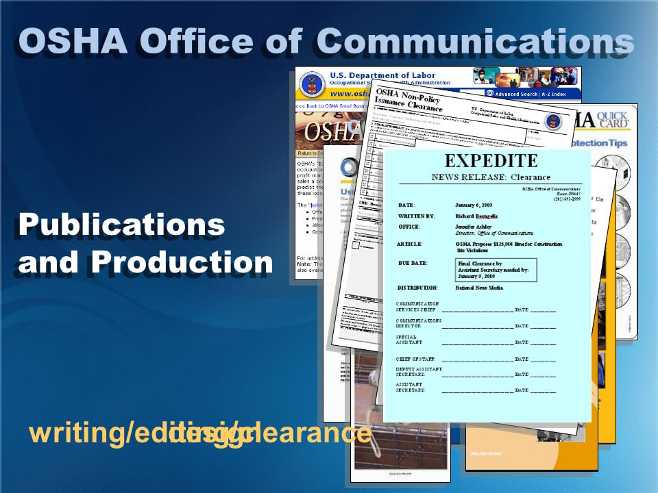 OSHA Office of Communications Safety and Health in Americas workplaces: e-news from OSHA Safety and Health in Americas workplaces: e-news from OSHA free informative twice monthly RSS feed free informative twice monthly RSS feed Go to www.osha.gov and subscribe today