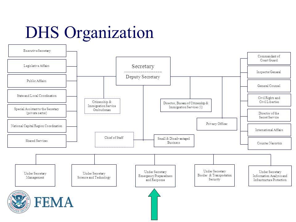 DHS Organization Secretary ---------------------------------- Deputy Secretary Under Secretary Science and Technology Under Secretary Information Anal