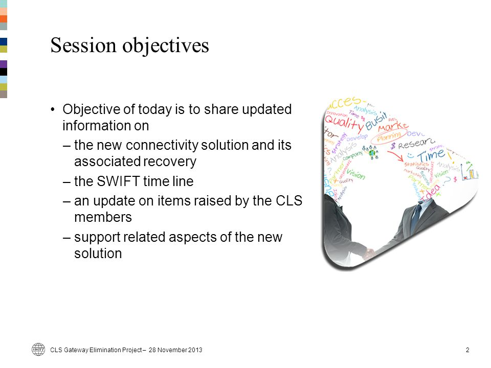 Session objectives Objective of today is to share updated information on –the new connectivity solution and its associated recovery –the SWIFT time li