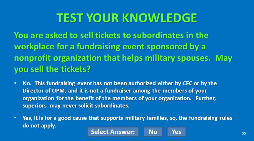TEST YOUR KNOWLEDGE You are asked to sell tickets to subordinates in the workplace for a fundraising event sponsored by a nonprofit organization that