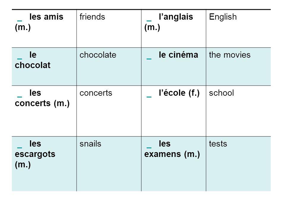 les amis (m.) friends langlais (m.) English le chocolat chocolate le cinéma the movies les concerts (m.) concerts lécole (f.) school les escargots (m.