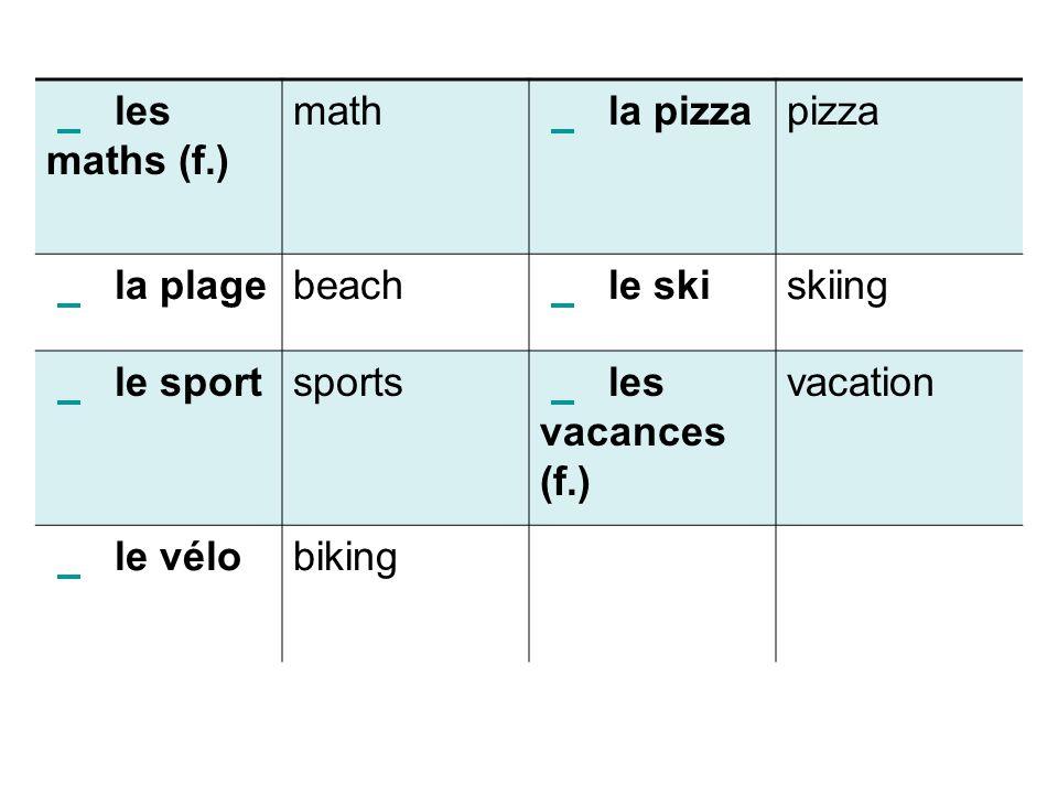 les maths (f.) math la pizza pizza la plage beach le ski skiing le sport sports les vacances (f.) vacation le vélo biking