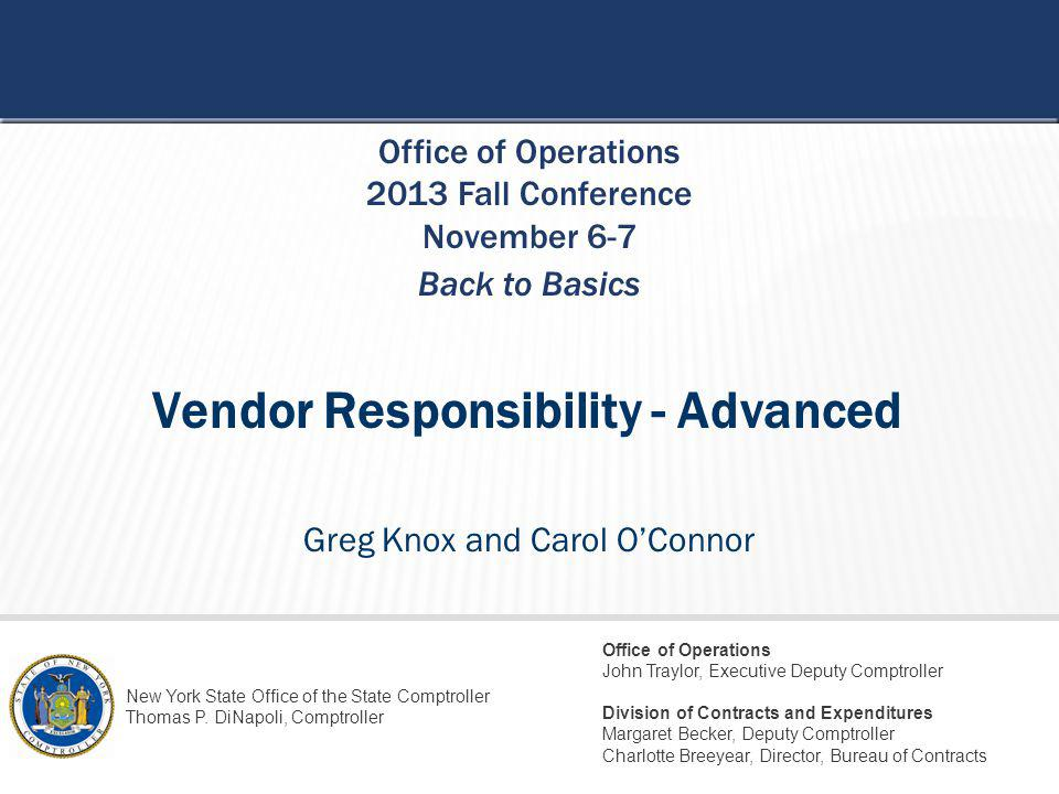 STATE OF NEW YORK OFFICE OF THE STATE COMPTROLLER 32 NOT-FOR-PROFIT VENDORS Can we submit a contract for a Not-For-Profit if they are not registered with the AGs Charities Registration?