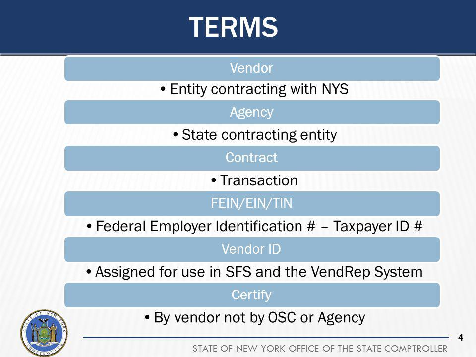 STATE OF NEW YORK OFFICE OF THE STATE COMPTROLLER 4 TERMS Vendor Entity contracting with NYS Agency State contracting entity Contract Transaction FEIN/EIN/TIN Federal Employer Identification # – Taxpayer ID # Vendor ID Assigned for use in SFS and the VendRep System Certify By vendor not by OSC or Agency