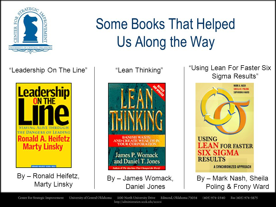 Some Books That Helped Us Along the Way By – Ronald Heifetz, Marty Linsky Leadership On The LineLean Thinking By – James Womack, Daniel Jones Using Le