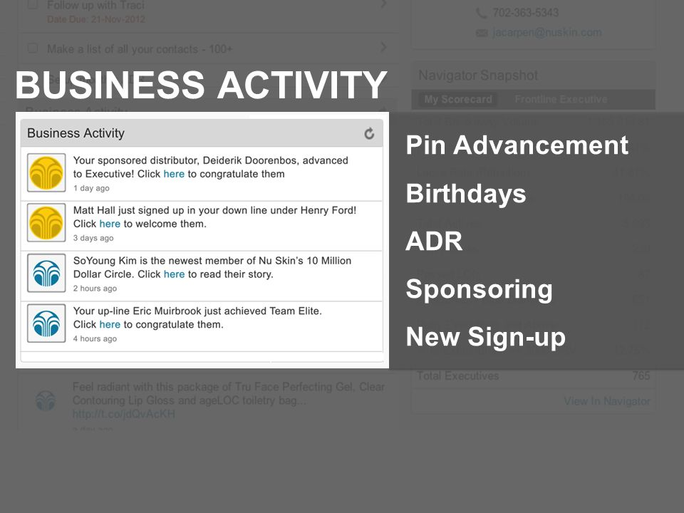BUSINESS ACTIVITY Pin Advancement Birthdays ADR Sponsoring New Sign-up