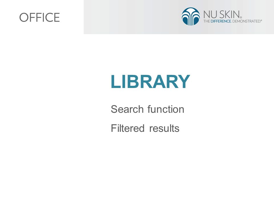 LIBRARY Search function Filtered results