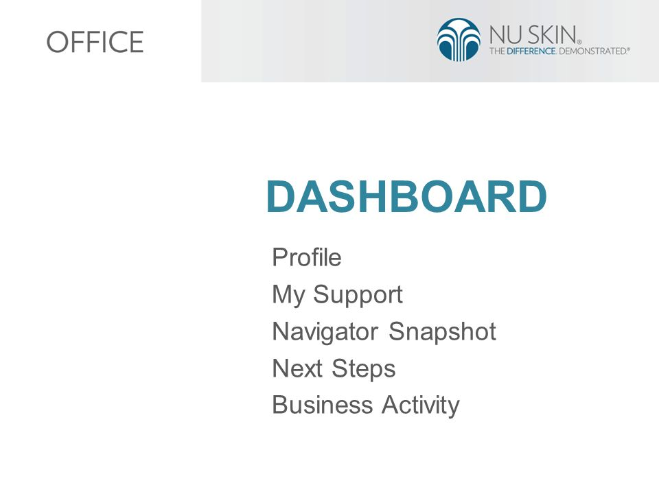 DASHBOARD Profile My Support Navigator Snapshot Next Steps Business Activity