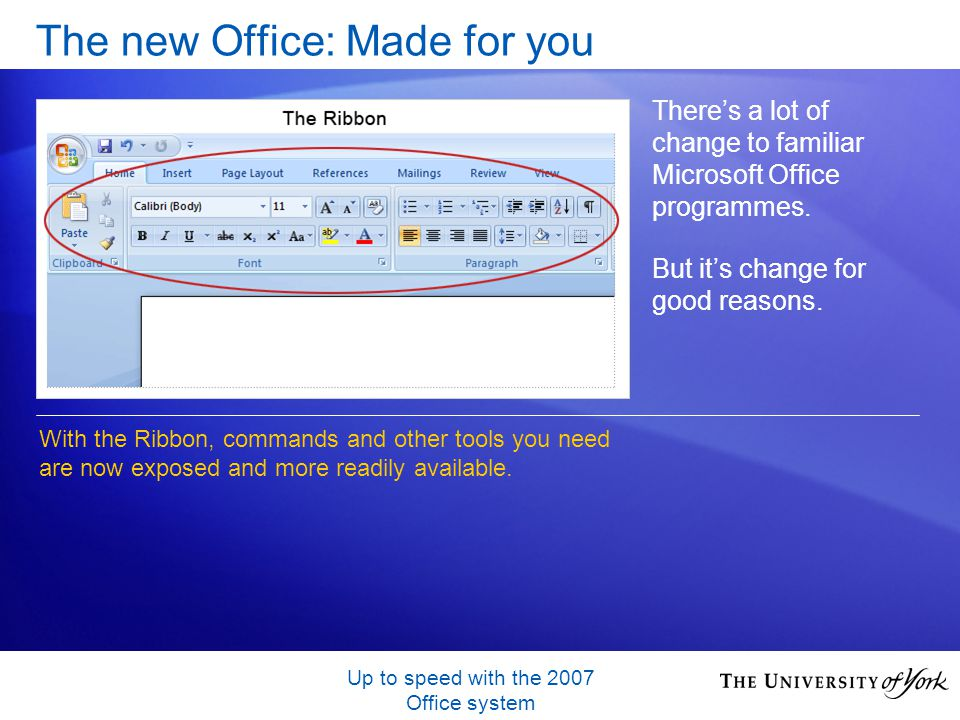 Up to speed with the 2007 Office system The new Office: Made for you Theres a lot of change to familiar Microsoft Office programmes.