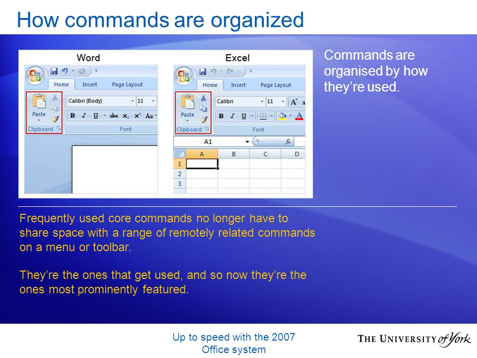 Up to speed with the 2007 Office system How commands are organized Commands are organised by how theyre used. Frequently used core commands no longer