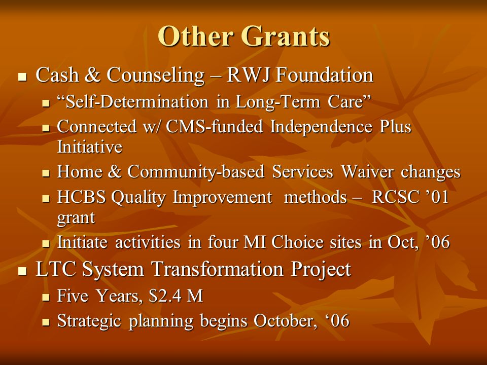 Other Grants Cash & Counseling – RWJ Foundation Cash & Counseling – RWJ Foundation Self-Determination in Long-Term Care Self-Determination in Long-Term Care Connected w/ CMS-funded Independence Plus Initiative Connected w/ CMS-funded Independence Plus Initiative Home & Community-based Services Waiver changes Home & Community-based Services Waiver changes HCBS Quality Improvement methods – RCSC 01 grant HCBS Quality Improvement methods – RCSC 01 grant Initiate activities in four MI Choice sites in Oct, 06 Initiate activities in four MI Choice sites in Oct, 06 LTC System Transformation Project LTC System Transformation Project Five Years, $2.4 M Five Years, $2.4 M Strategic planning begins October, 06 Strategic planning begins October, 06