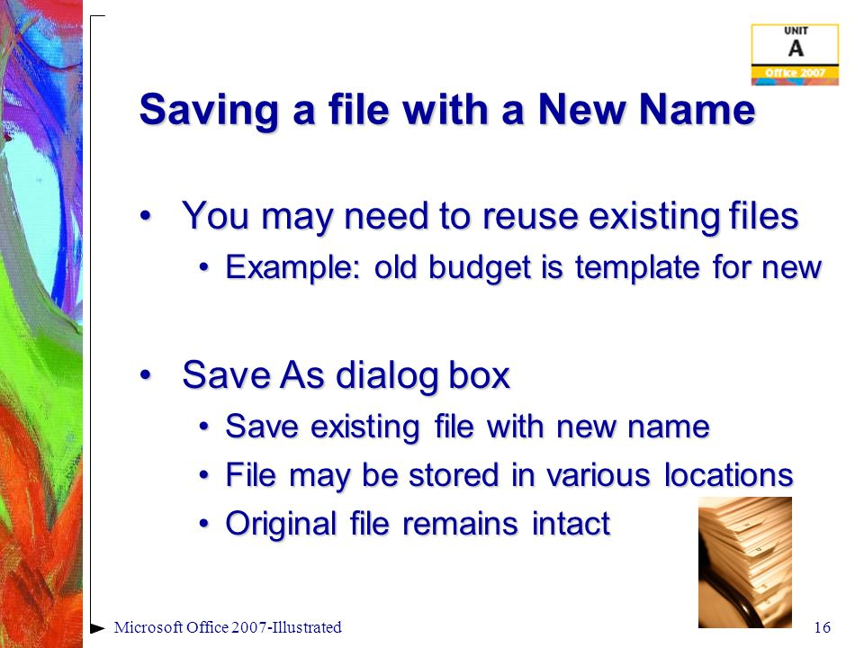 Save As Options.x – What does this mean.x – What does this mean Saving for older versionsSaving for older versions Saving as OpenDocumentSaving as OpenDocument Saving as.PDF or XPS - XML Paper Specification (XPS) is a fixed-layout electronic file format that preserves document formatting and enables file sharing.