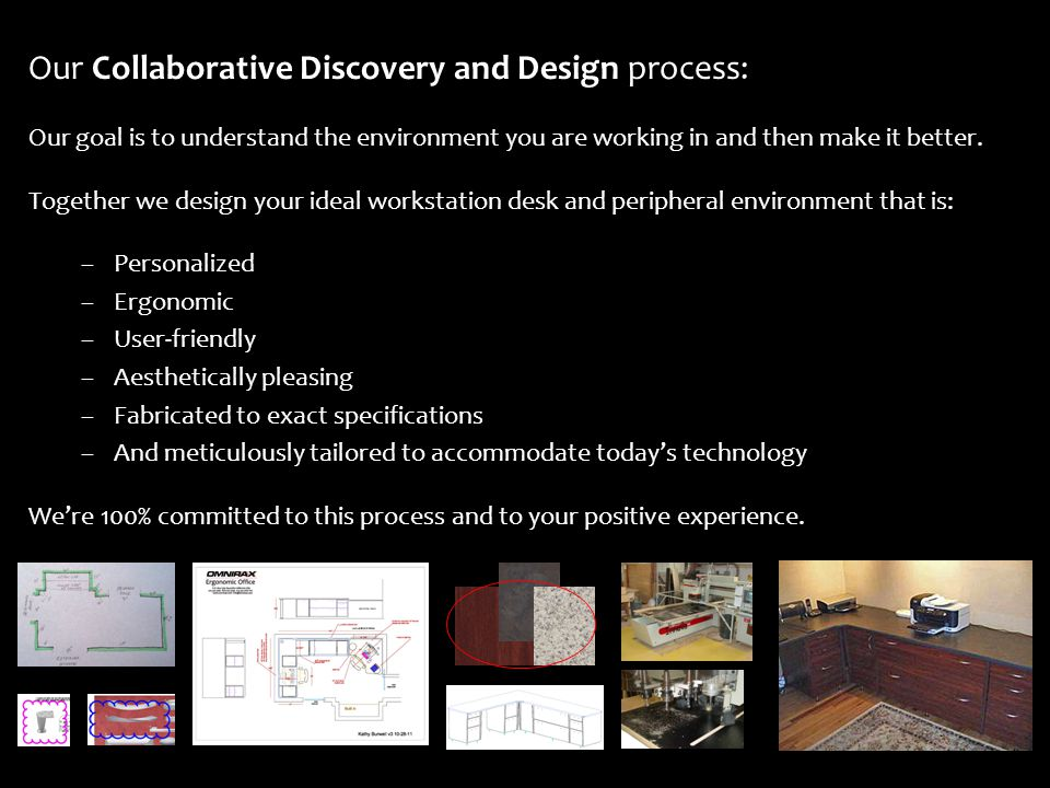 Our Collaborative Discovery and Design process: Our goal is to understand the environment you are working in and then make it better.