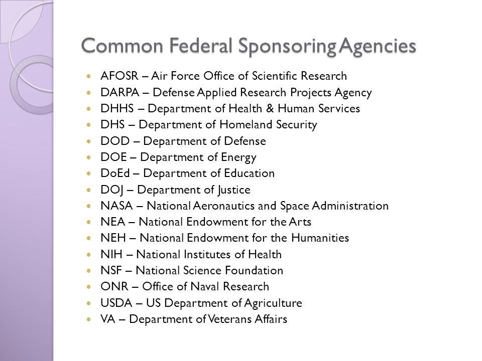 Common Federal Sponsoring Agencies AFOSR – Air Force Office of Scientific Research DARPA – Defense Applied Research Projects Agency DHHS – Department of Health & Human Services DHS – Department of Homeland Security DOD – Department of Defense DOE – Department of Energy DoEd – Department of Education DOJ – Department of Justice NASA – National Aeronautics and Space Administration NEA – National Endowment for the Arts NEH – National Endowment for the Humanities NIH – National Institutes of Health NSF – National Science Foundation ONR – Office of Naval Research USDA – US Department of Agriculture VA – Department of Veterans Affairs