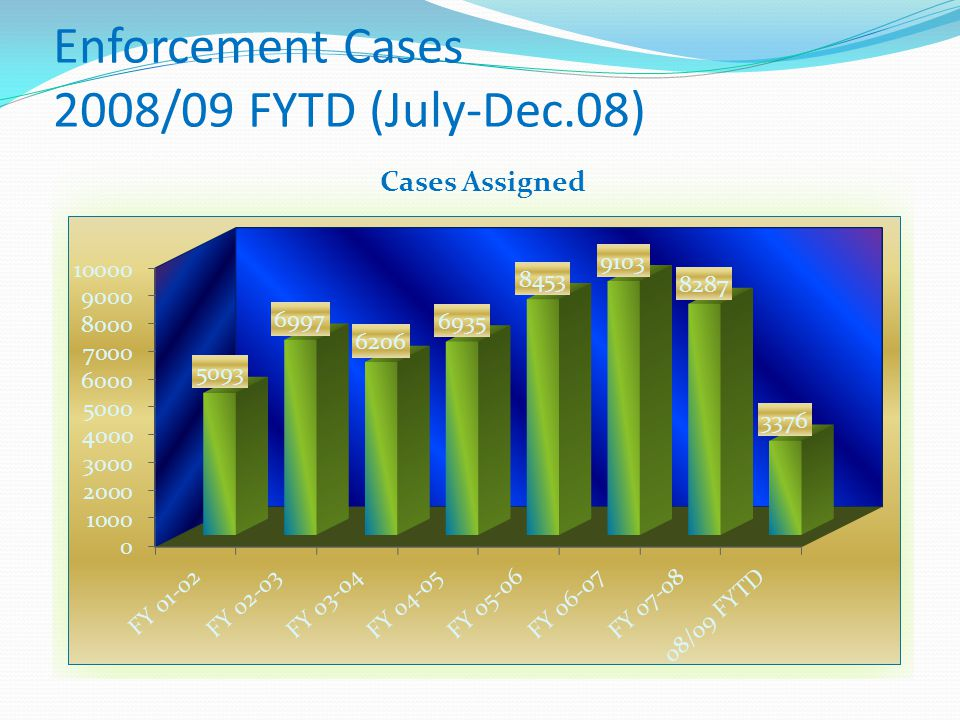 Enforcement Cases 2008/09 FYTD (July-Dec.08)