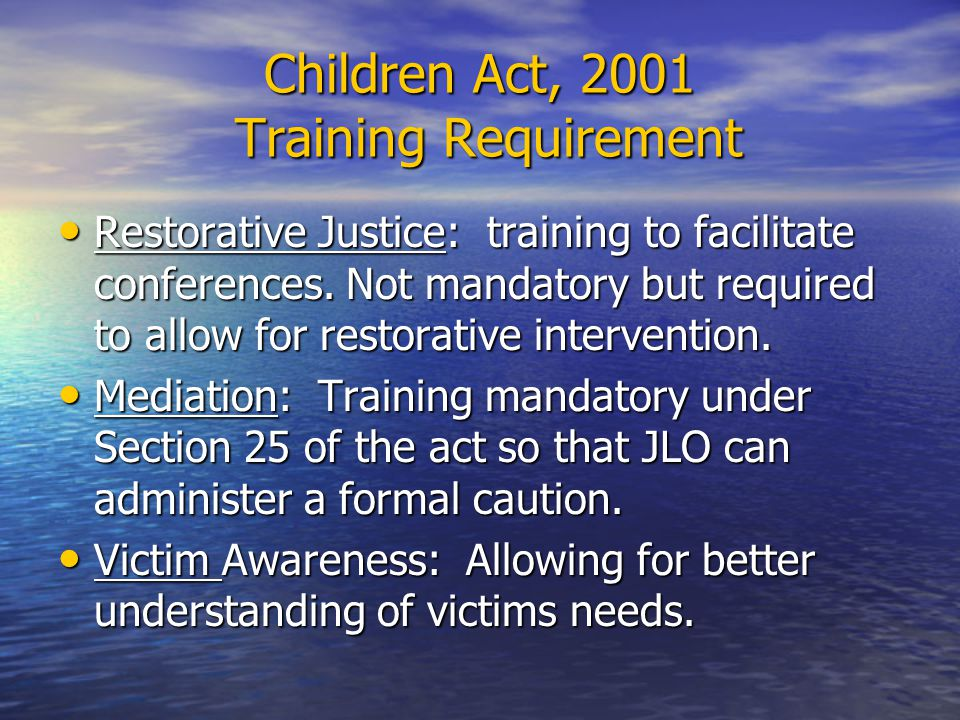 Training outcomes IIRP Real Justice Training – to use scripted format to facilitate restorative conference.