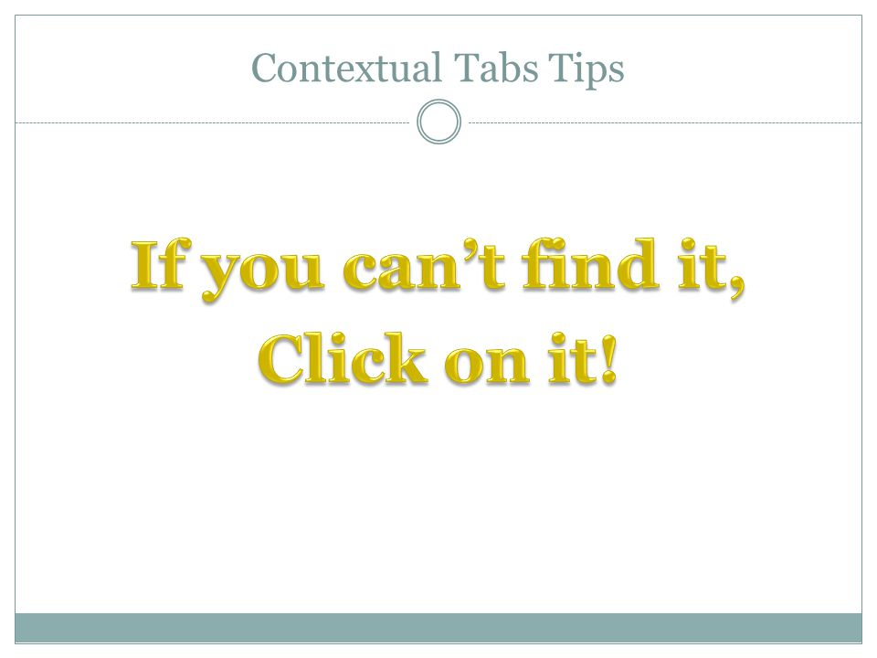 Contextual Tabs Tips
