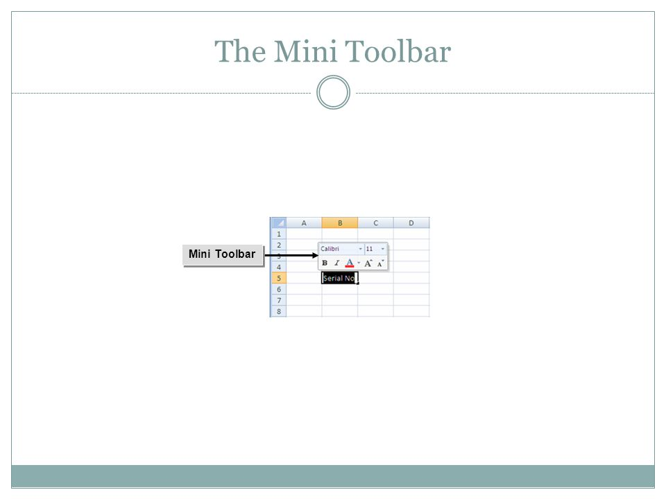 Mini Toolbar The Mini Toolbar