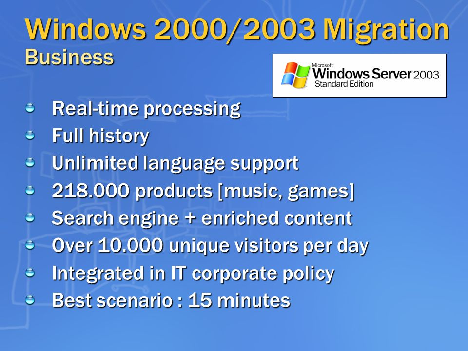 Windows 2000/2003 Migration Business Real-time processing Full history Unlimited language support products [music, games] Search engine + enriched content Over unique visitors per day Integrated in IT corporate policy Best scenario : 15 minutes