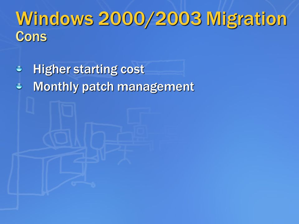 Windows 2000/2003 Migration Cons Higher starting cost Monthly patch management