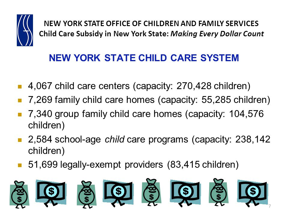 NEW YORK STATE CHILD CARE SYSTEM 4,067 child care centers (capacity: 270,428 children) 7,269 family child care homes (capacity: 55,285 children) 7,340