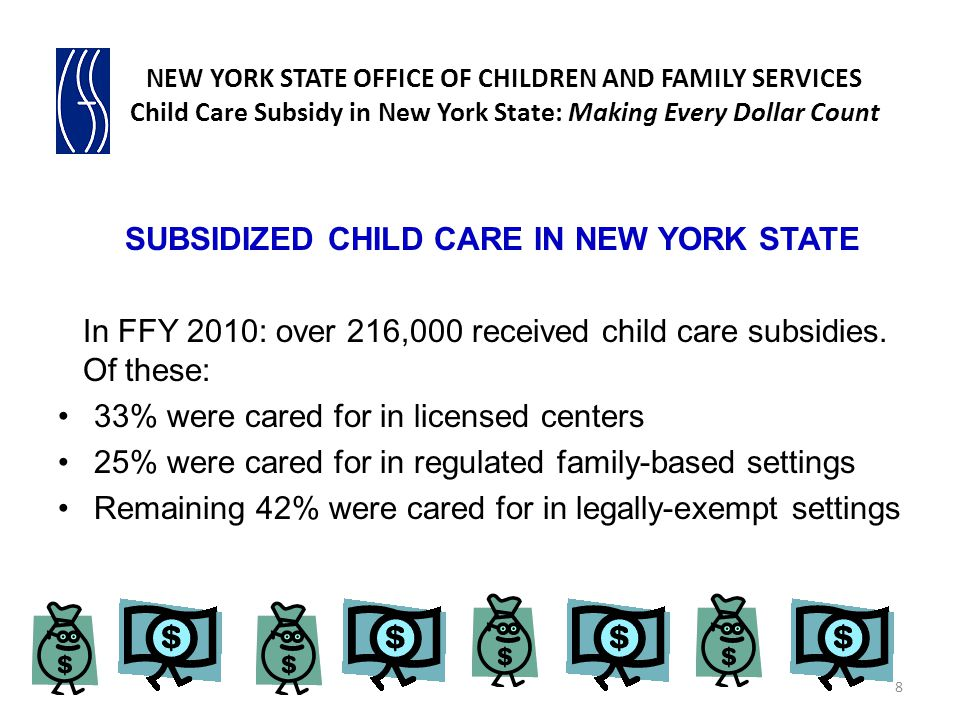 SUBSIDIZED CHILD CARE IN NEW YORK STATE In FFY 2010: over 216,000 received child care subsidies. Of these: 33% were cared for in licensed centers 25%