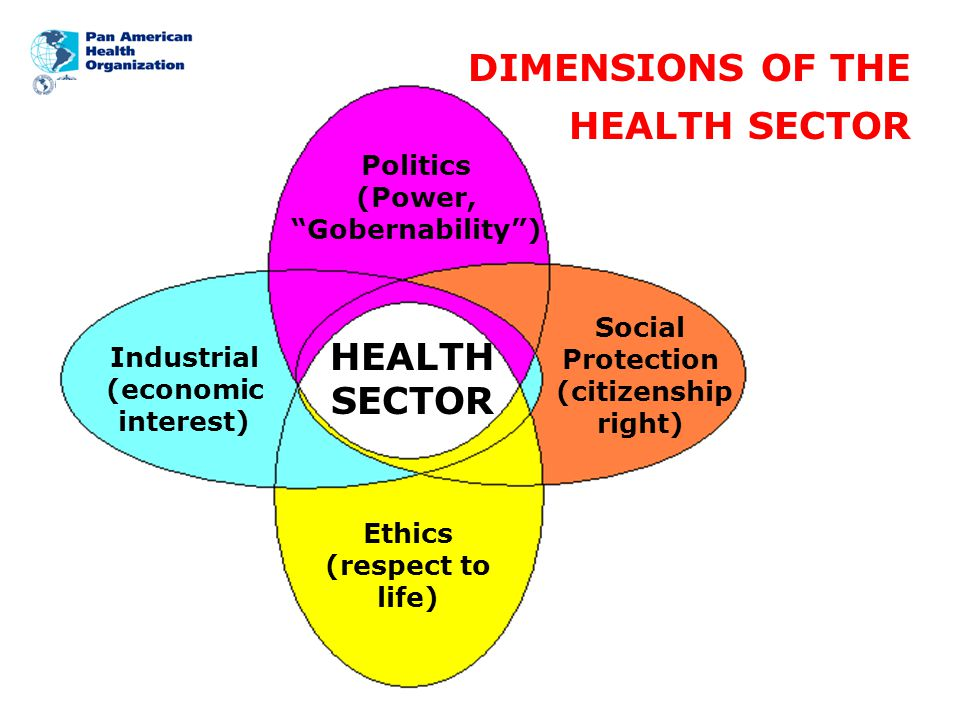 Office of the Assistant Director Health Systems Strengthening Area Social Protection : Subsystem of the Welfare State Politics: Subsystem of the Democratic Pluralist State Industrial: Subsystem of the Industrial Capitalist State Ethics: Subsystem of the Code of Global, Regional and National Values/Commitments of each Country/Society DIMENSIONS OF THE HEALTH SECTOR