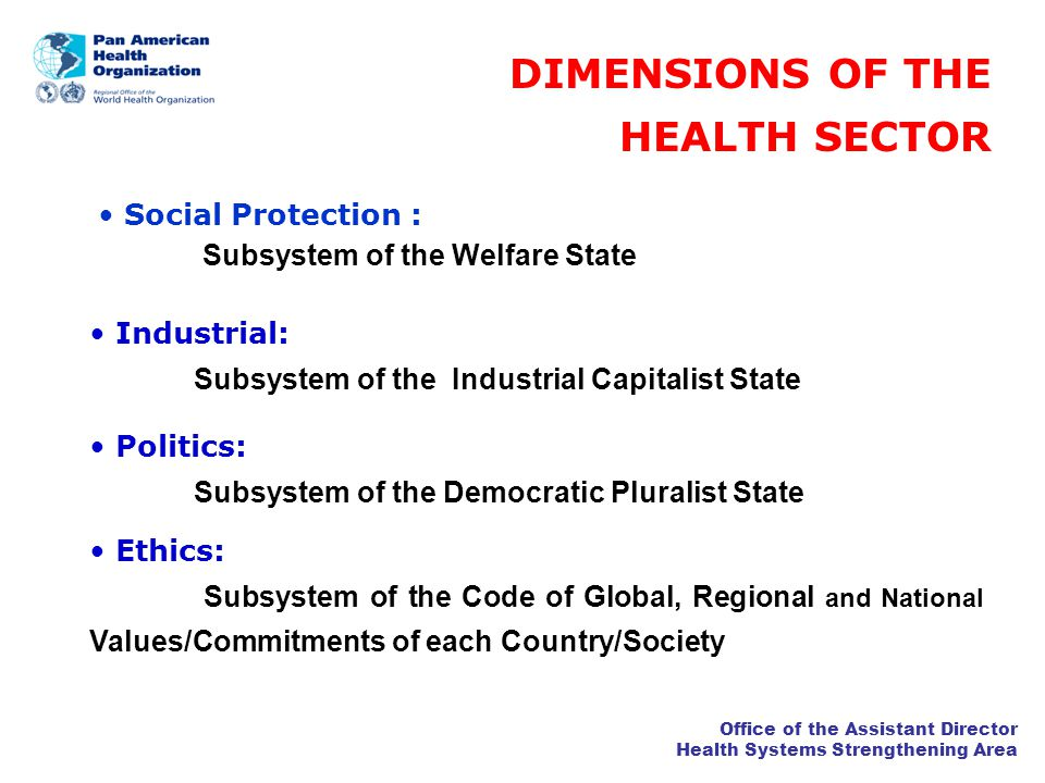 Office of the Assistant Director Health Systems Strengthening Area HEALTH SYSTEMS IN LAC NATIONAL HEALTH SERVICE SOCIAL HEALTH INSURANCE ENTREPRENEURIAL SEGMENTED Although the classical types of health systems influenced the development of the health sector in the Americas, neither of those models were fully implemented in the Region, where most of the countries have highly SEGMENTED HEALTH CARE SYSTEMS PRIVATE SOCIAL INSURANCE PUBLIC
