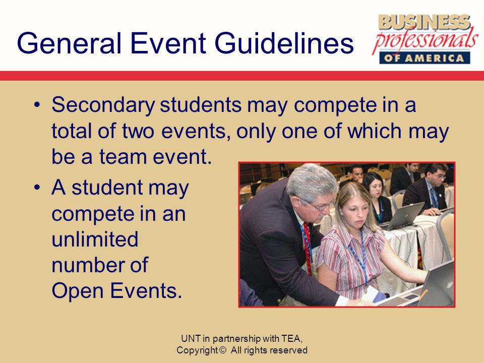 General Event Guidelines Secondary students may compete in a total of two events, only one of which may be a team event. A student may compete in an u