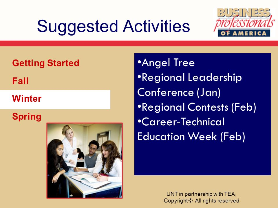 Suggested Activities Getting Started Fall Winter Spring Angel Tree Regional Leadership Conference (Jan) Regional Contests (Feb) Career-Technical Educa