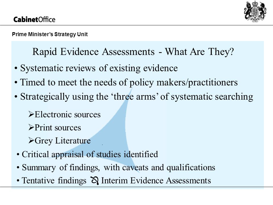 Prime Ministers Strategy Unit Systematic reviews of existing evidence Timed to meet the needs of policy makers/practitioners Strategically using the three arms of systematic searching Rapid Evidence Assessments - What Are They.