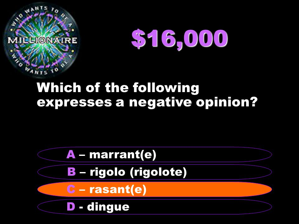 $16,000 Which of the following expresses a negative opinion.