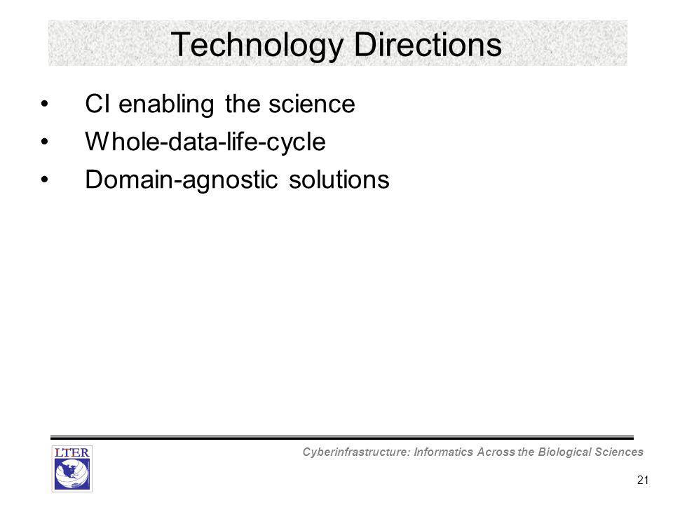 Cyberinfrastructure: Informatics Across the Biological Sciences 21 Technology Directions CI enabling the science Whole-data-life-cycle Domain-agnostic solutions