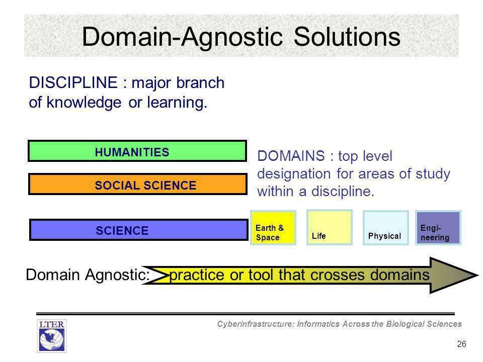 Cyberinfrastructure: Informatics Across the Biological Sciences 26 Earth & Space LifePhysical Engi- neering DOMAINS : top level designation for areas of study within a discipline.