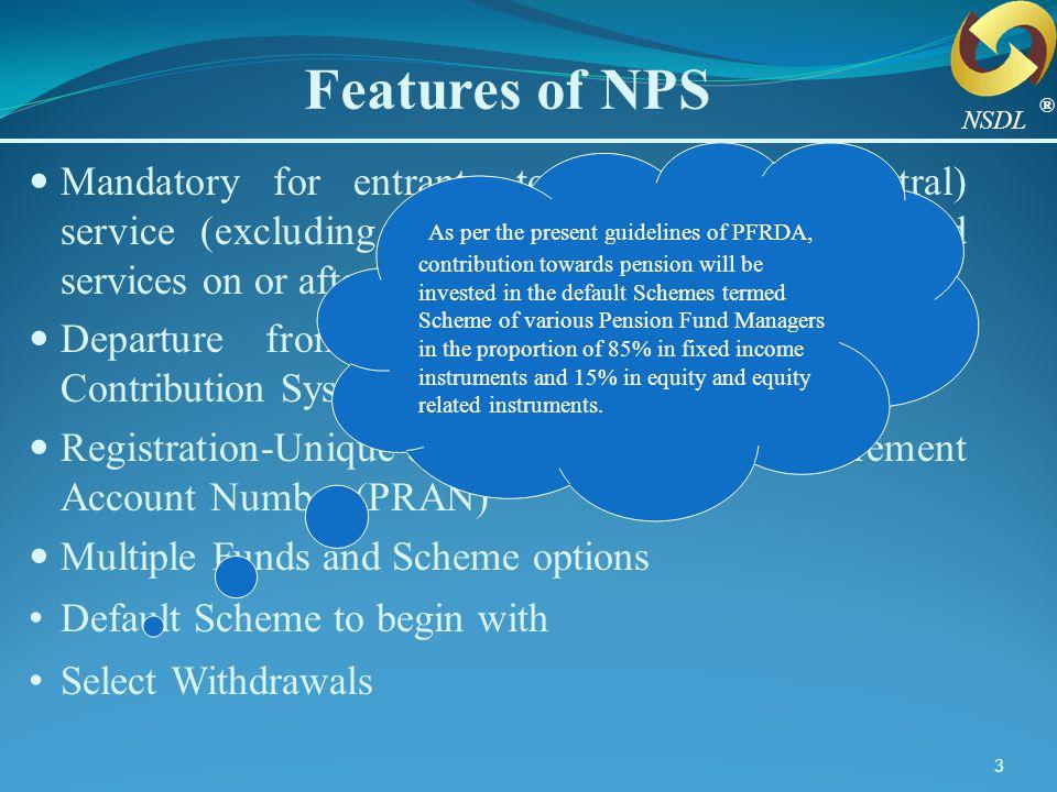 44 Subscriber PAO N P S C A N CRA (NSDL) Custodian (SHCIL) NPS Trust DDO Trustee Bank (BOI) Fund Flow Annuity Service Providers Funds Flow Information Flow Over Internet NPS Architecture PFM (SBI) PFM (UTI) PFM (LIC) NAV PFRDA ® NSDL Oversight Mechanism