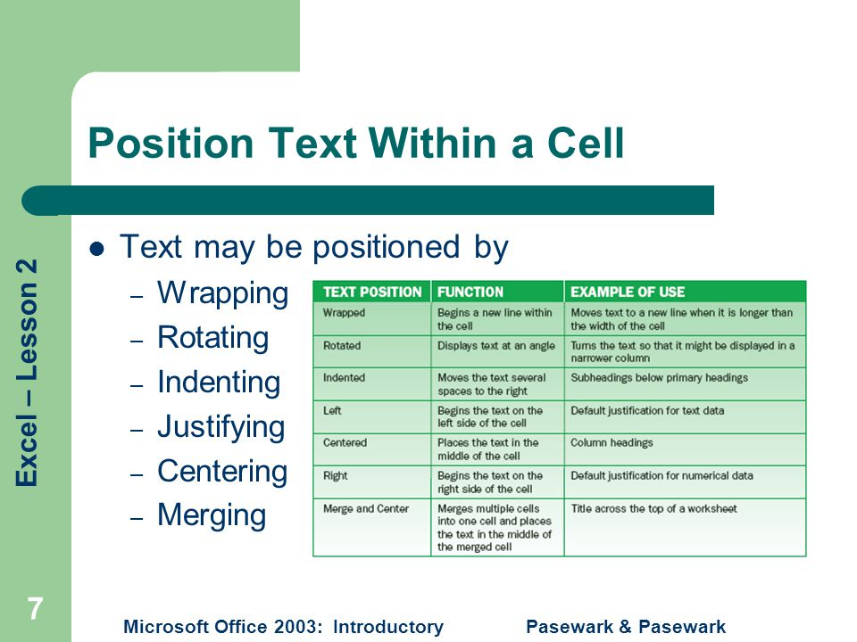 Excel – Lesson 2 Microsoft Office 2003: Introductory Pasewark & Pasewark 7 Position Text Within a Cell Text may be positioned by – Wrapping – Rotating – Indenting – Justifying – Centering – Merging